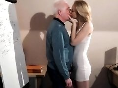 Young blonde fucking older employer to get the job