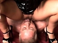 Dominatrix fucks a old guy and a young girl