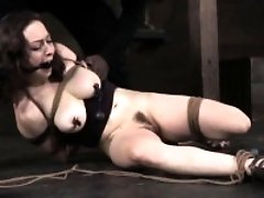 Hogtied busty skank getting humiliated